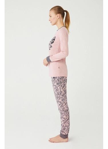 U.S. Polo Assn. Kadın Yuvarlak Yaka Pijama Takım Pembe